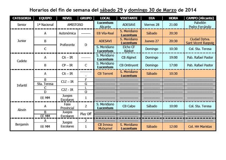 Partidos de la Cadena del CB LUCENTUM ALICANTE del Fin de Semana