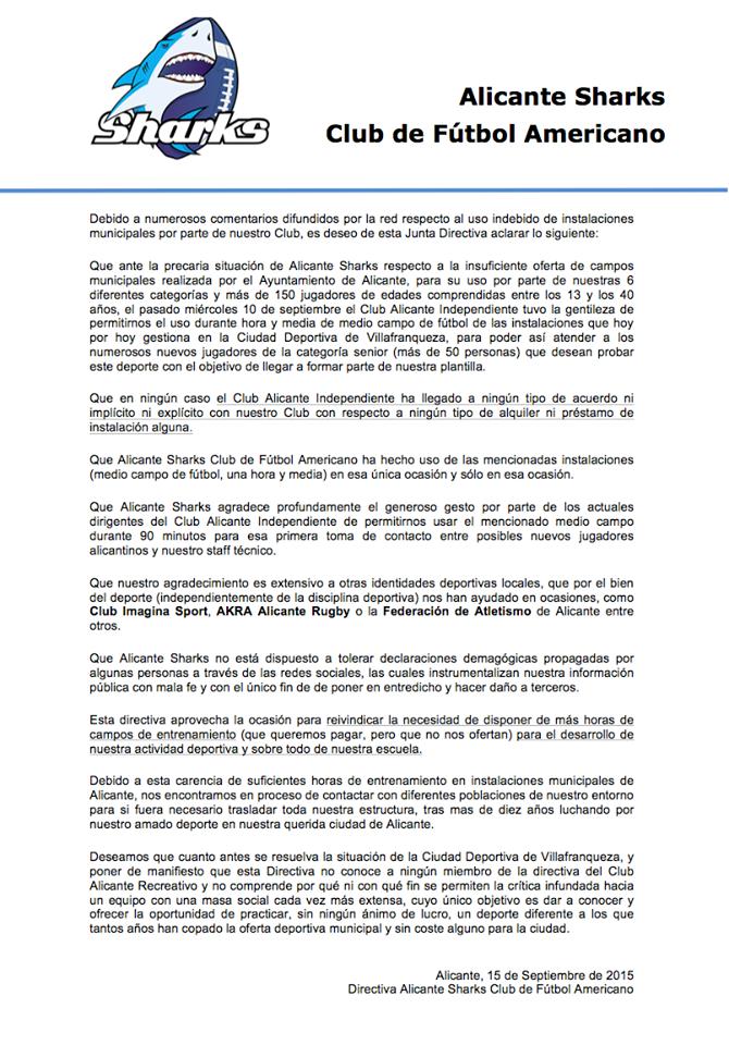 Alicante Sharks : COMUNICADO OFICIAL sobre las INSTALACIONES de VILLAFRANQUEZA