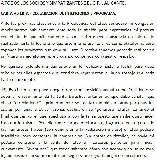 ELECCIONES CFI ALICANTE : Programa de FRANCISCO JAVIER JORNET