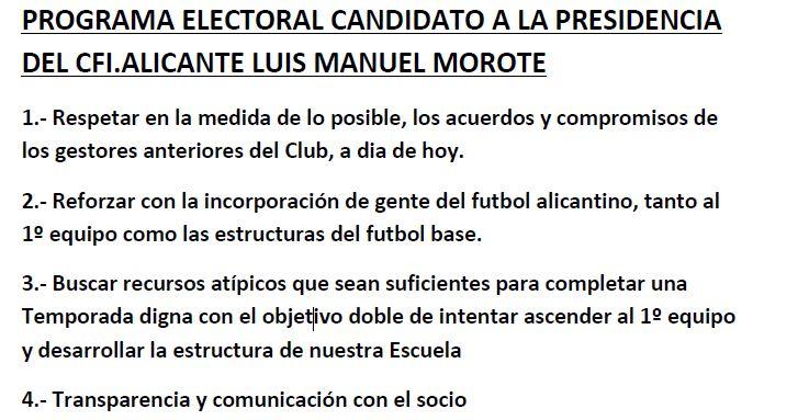 ELECCIONES CFI ALICANTE : Programa de LUIS MANUEL MOROTE